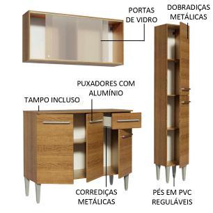 Cozinha Compacta Madesa Emilly Force com Armário, Balcão e Paneleiro