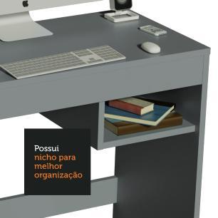 Escrivaninha Madesa Rubi com Tampo de Madeira e 1 Nicho - Cinza