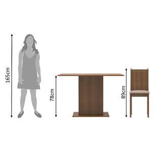 Conjunto Sala de Jantar Madesa Mel Mesa Tampo de Madeira com 2 Cadeiras