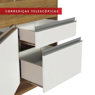 Balcão de Pia Madesa Glamy 150 cm 2 Portas e 2 Gavetas (Sem Tampo e Pia) - Rustic/Branco