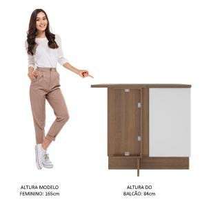 Balcão de Canto Madesa Stella 1 Porta - Rustic/Branco