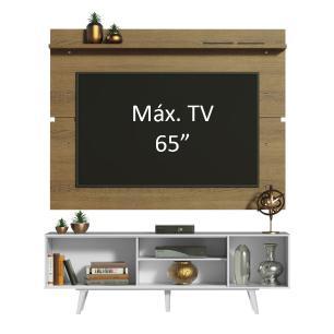 Rack Madesa Dubai e Painel para TV até 65 Polegadas com Pés - Branco/Rustic 096E