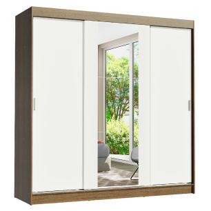 Guarda-Roupa Casal Madesa Reno 3 Portas de Correr com Espelho - Rustic/Branco