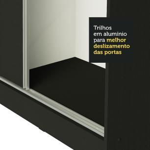 Guarda Roupa Casal 100% MDF Madesa Royale 3 Portas de Correr - Preto/Preto/Rustic