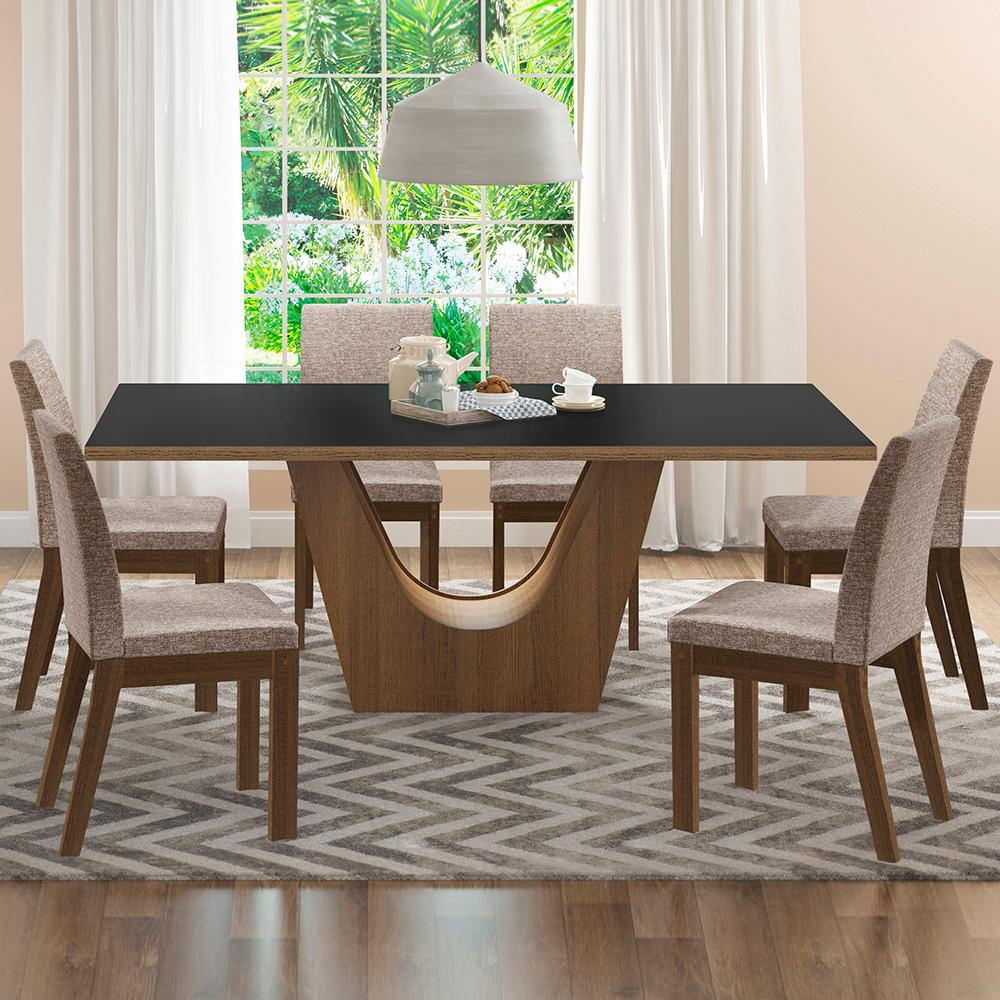 Conjunto Sala de Jantar Madesa Olivia Mesa Tampo de Madeira com 6 Cadeiras