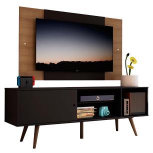 Rack Madesa Cairo e Painel para TV até 58 Polegadas com Pés de Madeira - Preto/Rustic 8NC1