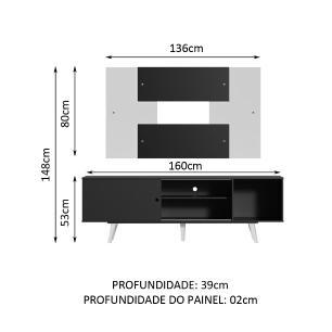 Rack Madesa Dubai com Pés e Painel para TV até 58 Polegadas - Preto/Branco 8NC7