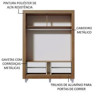 Guarda-Roupa Solteiro Madesa Dallas Plus 2 Portas de Correr com Espelho 4 Gavetas com Pés - Rustic