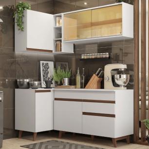 Cozinha Completa de Canto Madesa Reims 262001 com Armário e Balcão - Branco