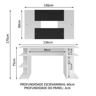 Mesa Gamer Madesa 9409 e Painel para TV até 58 Polegadas - Branco