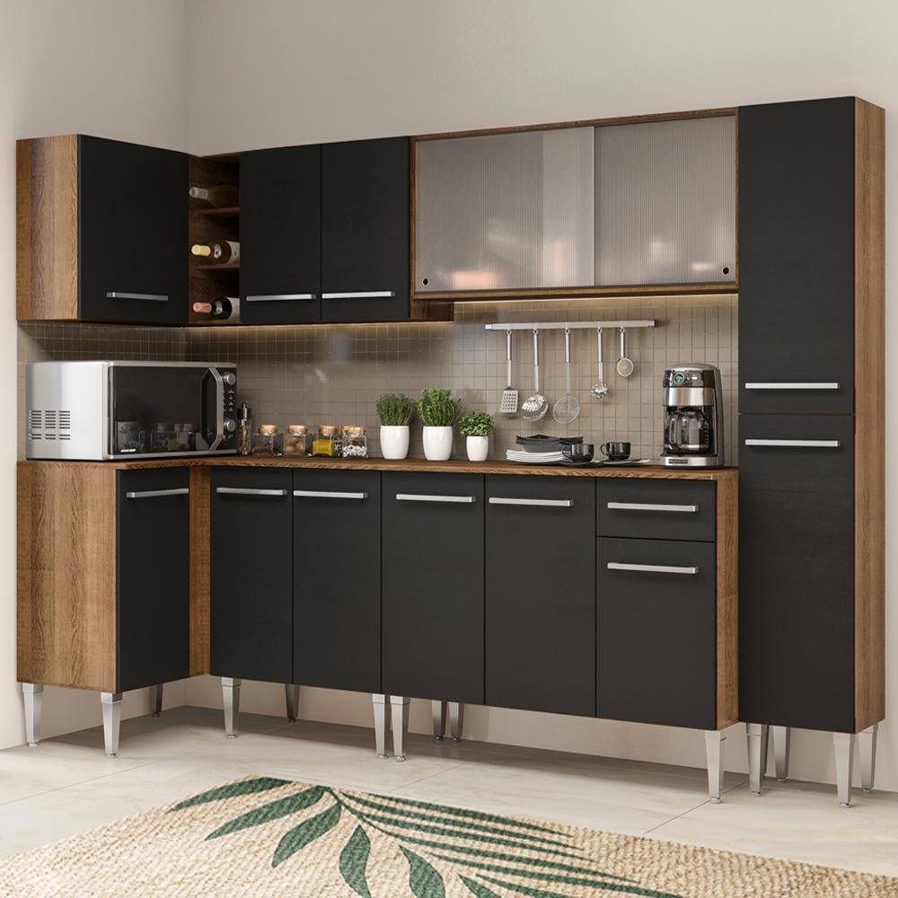Cozinha Completa de Canto Madesa Emilly Space com Armário Vidro Miniboreal, Balcão e Paneleiro