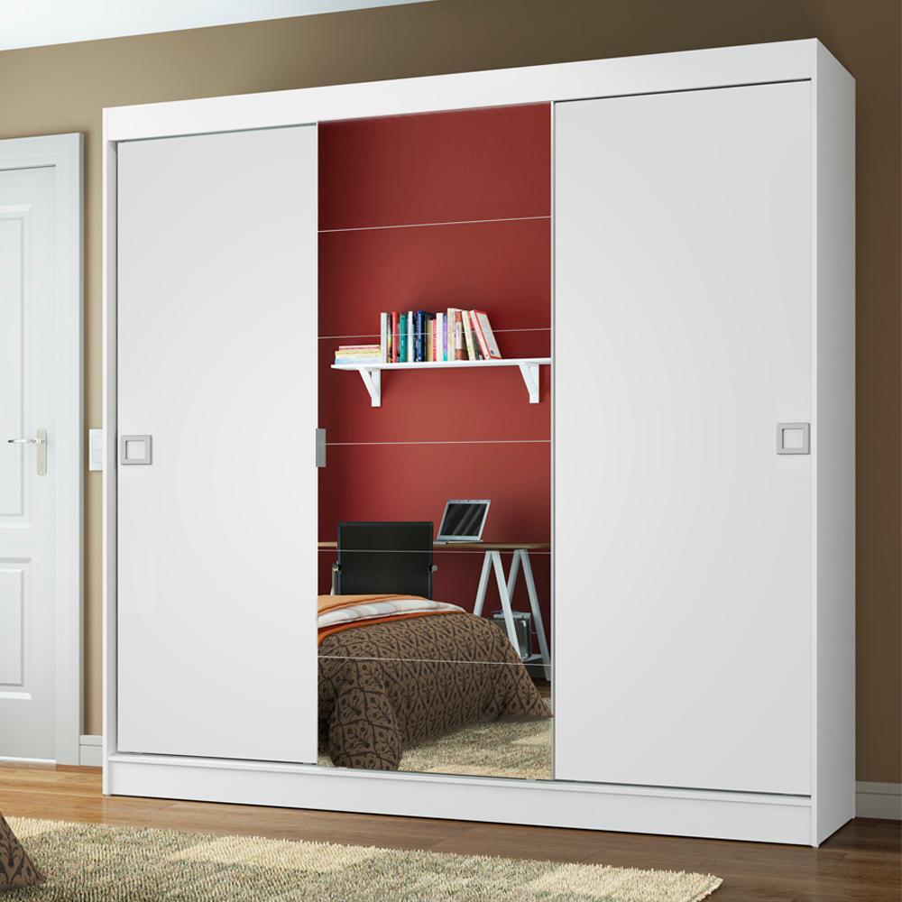 Guarda-Roupa Casal Madesa Veneza 3 Portas de Correr Central com Espelho