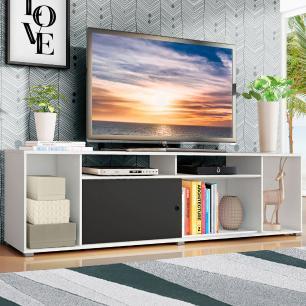 Rack para TV até 65 Polegadas Madesa Cancun - Branco/Preto