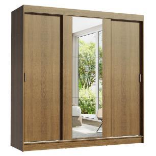Guarda-Roupa Casal Madesa Reno 3 Portas de Correr com Espelho - Rustic