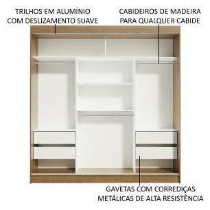 Guarda-Roupa Casal Madesa Reno 3 Portas de Correr de Espelho - Rustic/Carvalho