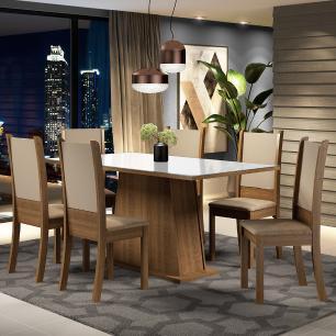 Conjunto Sala de Jantar Madesa Emma Mesa Tampo de Vidro com 6 Cadeiras