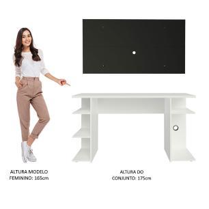 Mesa para Computador Gamer Madesa 9409 e Painel para TV até 50 Polegadas - Branco/Preto