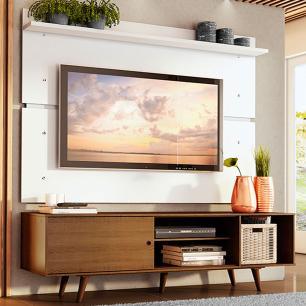 Rack Madesa Dubai e Painel para TV até 65 Polegadas com Pés - Rustic/Branco 5Z9B