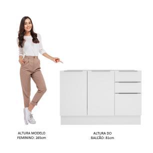 Balcão de Pia Madesa Stella 2 Portas e 3 Gavetas - Branco