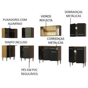 Cozinha Completa de Canto Madesa Emilly Mega com Armário Vidro Reflex e Balcão