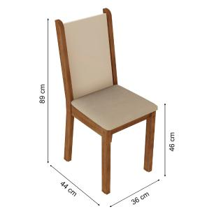 Kit 4 Cadeiras 4291 Madesa Rustic/Crema/Pérola