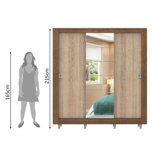 Guarda-Roupa Casal Madesa Campos 3 Portas de Correr com Espelho com Pés - Rustic/Saara