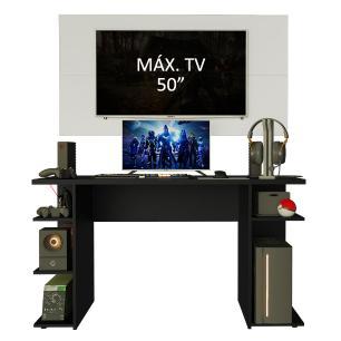 Mesa Gamer Madesa 9409 e Painel para TV até 50 Polegadas - Preto/Branco