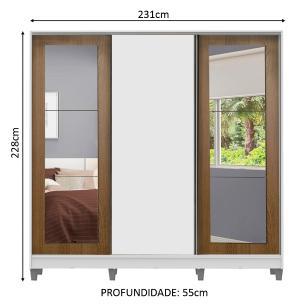 Guarda-Roupa Casal Madesa Eros 3 Portas de Correr com Espelhos com Pés - Branco/Rustic/Branco