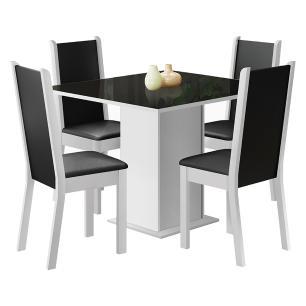 Conjunto Sala de Jantar Madesa Moscou Plus Mesa Tampo de Vidro com 4 Cadeiras