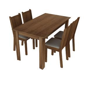 Conjunto Sala de Jantar Rosie Madesa Mesa Tampo de Madeira com 4 Cadeiras - Rustic/Pérola