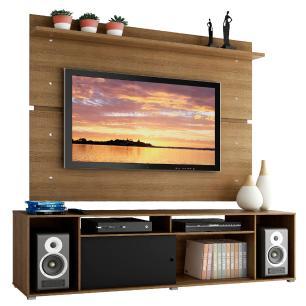 Rack Madesa Cancun e Painel para TV até 65 Polegadas - Rustic/Rustic/Preto