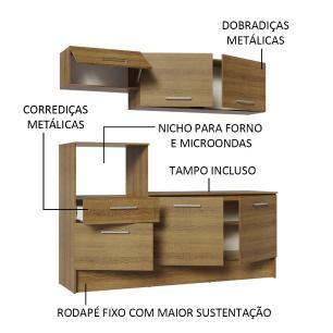 Cozinha Compacta Madesa Onix 180001 com Armário e Balcão - Rustic
