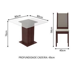 Conjunto Sala de Jantar Madesa Dara Mesa Tampo de Vidro com 4 Cadeiras