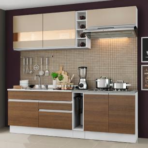 Cozinha Completa Madesa Parma com Armário e Balcão (Sem tampo e Pia) - Branco/Rustic/Crema