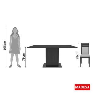 Conjunto Sala de Jantar Versalhes Madesa Mesa Tampo de Madeira com 6 Cadeiras