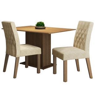 Conjunto Sala de Jantar Madesa Lia Mesa Tampo de Madeira com 2 Cadeiras