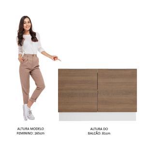 Balcão de Pia Madesa Stella 2 Portas - Branco/Rustic