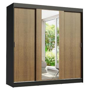 Guarda-Roupa Casal Madesa Reno 3 Portas de Correr com Espelho