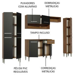 Armário de Cozinha Completa Madesa Emilly Hit com Balcão 11 Portas 1 Gaveta - Rustic/Preto