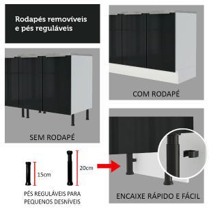 Torre Quente Madesa Lux 70 cm 3 Portas - Branco/Preto