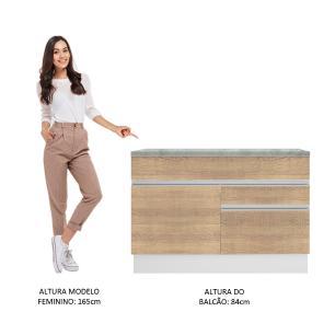 Balcão de Pia Madesa Glamy 120 cm 1 Porta e 2 Gavetas (Com Tampo) - Branco/Saara