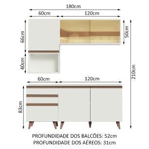 Cozinha Completa Madesa Reims 180002 com Armário e Balcão - Branco