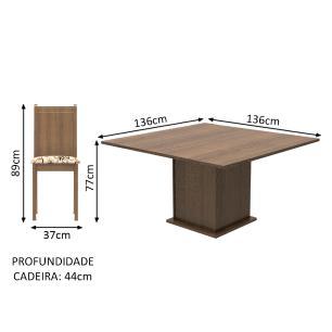 Conjunto Sala de Jantar Madesa Clarice Mesa Tampo de Madeira com 8 Cadeiras - Rustic/Lírio Bege