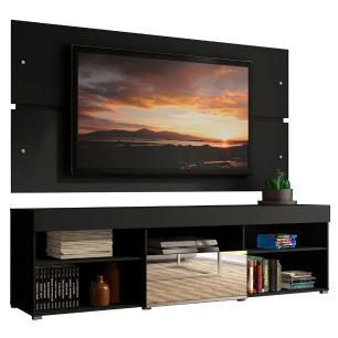 Rack com Painel para TV até 65 Polegadas Madesa Dublin 1 Porta com Espelho - Preto