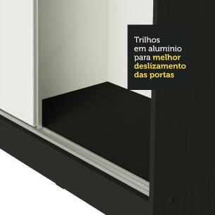 Guarda Roupa Casal 100% MDF Madesa Royale 3 Portas de Correr - Preto/Preto/Branco