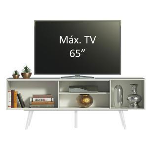 Rack Madesa Cairo para TV até 65 Polegadas com Pés de Madeira - Branco/Preto/Branco