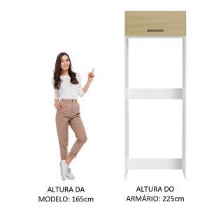 Porta Geladeira Madesa Agata 1 Porta Basculante - Branco/Carvalho