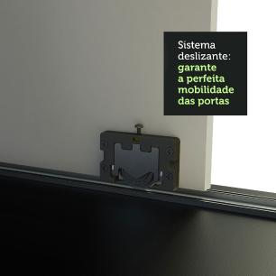 Guarda-Roupa Casal Madesa Istambul 3 Portas de Correr de Espelho 3 Gavetas - Preto/Branco