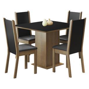 Conjunto Sala de Jantar Madesa Alana Mesa Tampo de Madeira com 4 Cadeiras - Rustic/Preto/Sintético Preto