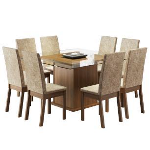 Conjunto Sala de Jantar Madesa Milene Mesa Tampo de Vidro com 8 Cadeiras